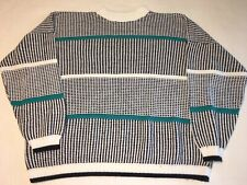 Vntg Adele Sweater Plus 18 18W 80s White Black Neon Blue Teal Geometric Crew
