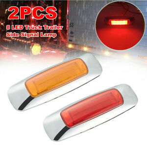2x Truck Trailer Side 8LED Signal Lamp Extension Indicator Brake Light Red Amber
