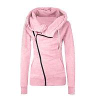 Womens Winter Zip Up Jumper Tops Hoodie Hooded Pullover Sweatshirt Coats Jackets