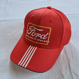 Ford Mustang Heritage Mens Red Embroidered Cap Hat Snapback One Size New