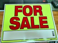 """Large For Sale  14 """" x 11 """" sign RED N YELLOW  NEW READY TO USE"""