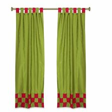2 Eclectic Olive Green Indien Check Sari Curtains Tab Top drapes