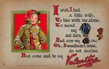 Be My Valentine Wish I Had A Little Wife by Tuck Pub antique pc Z16869