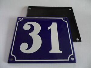 Old French Blue Enamel Porcelain Metal House Door Number Street Sign / Plate 31