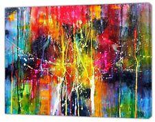 Jackson Pollock Style Colourful Abstract oil paint Reprint On Framed Canvas Art