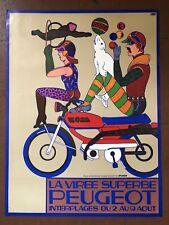 affiche Vintage publicitaire LA VIRÉE SUPERBE PEUGEOT Rare