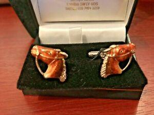 Sterling silver 925 & enamel Horse Head cufflinks set in original box