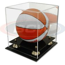 Deluxe Acrylic Mini Basketball Display Case with Black Base Riser Cover Mirrored