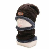 2pcs Skull Warm Set Men's Winter Knitted Hat Cap Beanie Scarf with