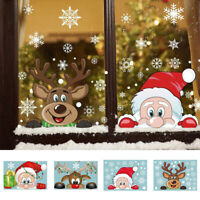 Santa Elk Large Snow Flake Windows Wall PVC Sticker Christmas New Year Party New