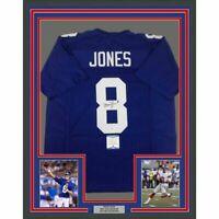 FRAMED Autographed/Signed DANIEL JONES 33x42 New York Blue Jersey Beckett COA