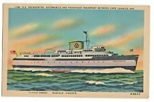 Linen Postcard Ss Pocahontas Auto Passenger Transport Ship Little Creek Norfolk