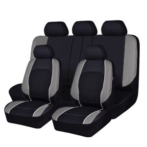 Universal Car Seat Covers PU Leather Mesh Grey Black Airbag Front Rear For SUV