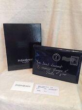 YSL Saint Laurent Y-Mail Blue Patent Leather Notebook, Handbag - NEW!