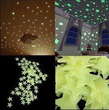 100Pcs 1Set 3D Stars Glow In The Dark Luminous Fluorescent Plastic Wall Stickers