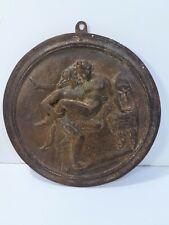 Scène érotique - Ancienne plaque médaillon sculpture bas relief