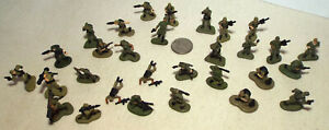Lot of 30 Very Small Micro Machine Plastic Figures of Soldiers in Green Lot E