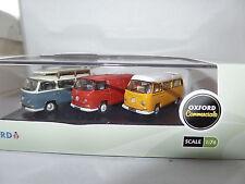 Oxford 76set35 VOLKSWAGEN VW Bay Finestrino Furgone Rosso Set Blu Bus Camper Giallo