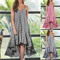 ZANZEA Women Sleeveless Casual Shirt Dress Plaid Irregular Hem Long Dresses Plus