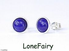 Solid 925 Sterling Silver Lapis Lazuli Round Stud Earrings Royal Blue Gemstone
