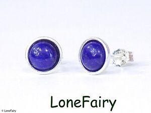 Solid 925 Sterling Silver Lapis Lazuli Round Stud Earrings Royal Blue Gemstone