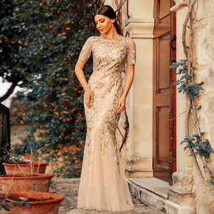 Sequin Mother Of the Bride Dress Long Evening Cocktail Dress Ball Wedding Gown