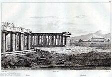Paestum: i tre Templi.Capaccio.Salerno.Audot.Steel engraving.+ Passepartout.1835