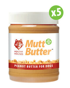 5 MUTT BUTTER 100% Natural Peanut Butter For Dogs NO PALM OIL Sugar Salt Xylitol