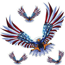1 Set/4Pcs Car Decal Flying Hawk Auto Truck Hood Side Eagle USA Flag Sticker New