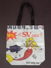 Blonde Mermaid Recycled Feed Bag Small Aqua Tote Made Cambodia Wfto Fair Trade