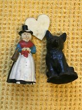 More details for vintage chalk ware welsh lady and welsh coal fox cub