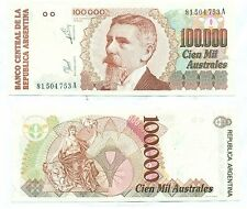ARGENTINA NOTE 100000 AUSTRALES (1990) SERIAL A B# 2891 P 336 UNC