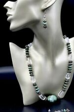 "GENUINE TURQUOISE STONE WITH QUARTZ NUGGET & SILVER  22"" NECKLACE & EARRINGS SET"