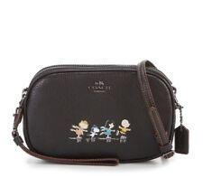 Coach x Peanuts Snoopy Crossbody Clutch Bag Black Leather Limited Edition NWT