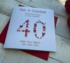 Handmade Personalised 40th Ruby Wedding Anniversary Card Mum Dad Wife Husband