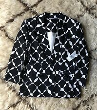 NWT Kim Rogers Petite Small Black & White Circle Print Button Front Blazer