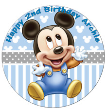 """Mickey Mouse Personalised Edible Cake Topper Wafer Paper Baby Birthday 7.5"""""""