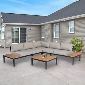 ALEKO L-Shaped Outdoor  5 Person Patio Furniture Sectional Sofa Set with Table
