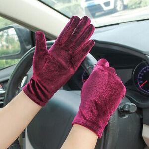 1 Pairs Gold Velvet Gloves Women Soft Elastic Full Finger Mittens Outdoor
