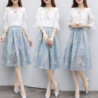 Women's Elegant Dresses High Waist Long Flounce Sleeve Embroidery 2pc Dress Set