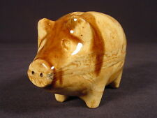SMALL PIG BANK ROCKINGHAM AGATE GLAZE YELLOW WARE