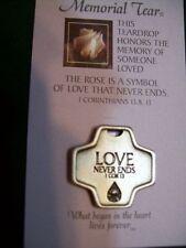 Memorial Tear Pewter Cross~Love Never Ends~SympathyGift