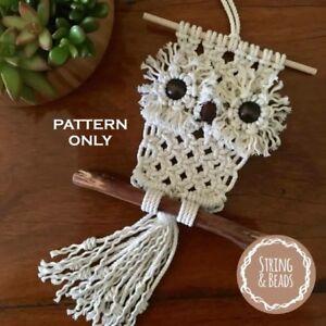 DIY MACRAME *** OWL *** PATTERN - Art/Weave/Wall Decor/Rope/Cord/Boho/Retro