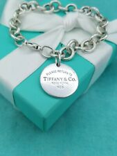 "Authentic Return To Tiffany & Co Round Disc Tag Bracelet 7.75"" UK Hallmarks"