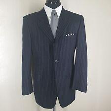Hugo Boss Vtg Blue Chalk Stripe Wool Sport Coat3 Btn Broad Shoulder 42-44 Reg