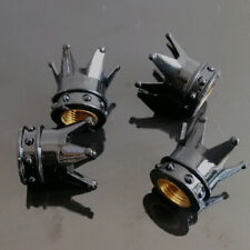 4Pcs Kings Crown Car Tyre Tire Black Wheel Valve Stems Air Dust Covers Caps