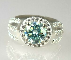 4.59 Ct Exclusive White Diamond Halo Solitaire Men's Ring Ideal Gift For Husband