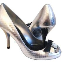 Karen Millen Ladies Leather Court Bow Shoes Size UK 5 38 Silver Black High HEELS
