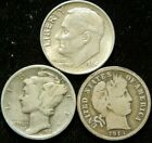 3 Coin Dime Lot , Mercury Roosevelt Barber 90% Silver Bullion Silver Certificate