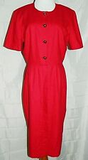 Talbots Dress Silk Shirt Waist Button Front Red Midi Short Sleeve sz 10 Vintage
